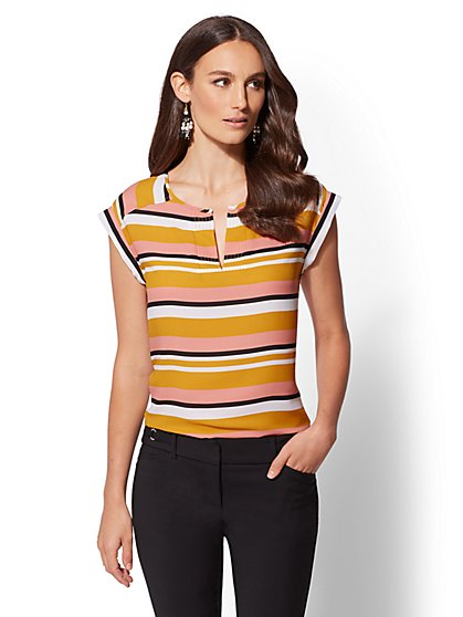 7th Avenue - Stripe Split-Neck Top - New York & Company