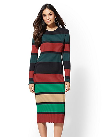 7th Avenue - Stripe Sweater Midi Dress - New York & Company