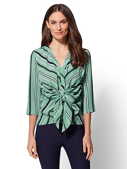 7th Avenue - Stripe Twist-Front Blouse - New York & Company