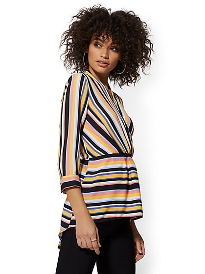 7th Avenue - Stripe V-Neck Hi-Lo Blouse - New York & Company