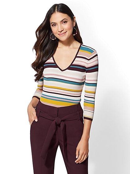 7th Avenue - Stripe V-Neck Sweater - New York & Company