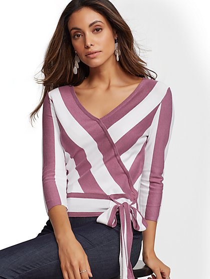7th Avenue - Stripe V-Neck Wrap Sweater - New York & Company