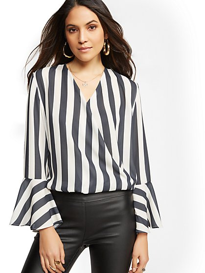 7th Avenue - Stripe Wrap Blouse - New York & Company