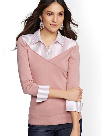 7th Avenue - Stripe Wrap Twofer Top - New York & Company