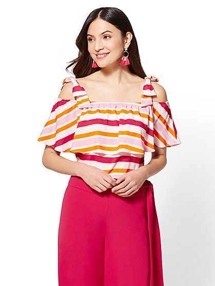 7th Avenue - Striped Flounced Cold-Shoulder Top - New York & Company