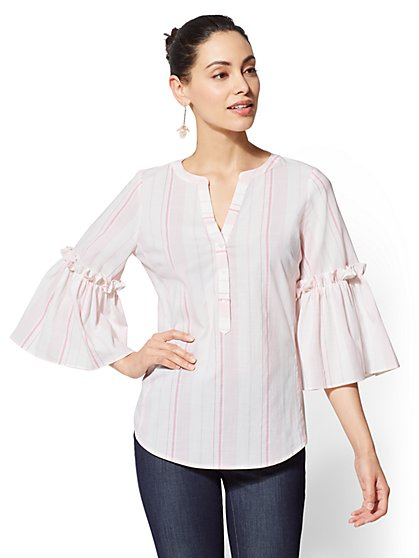 7th Avenue - Striped Ruffled Popover Shirt - New York & Company
