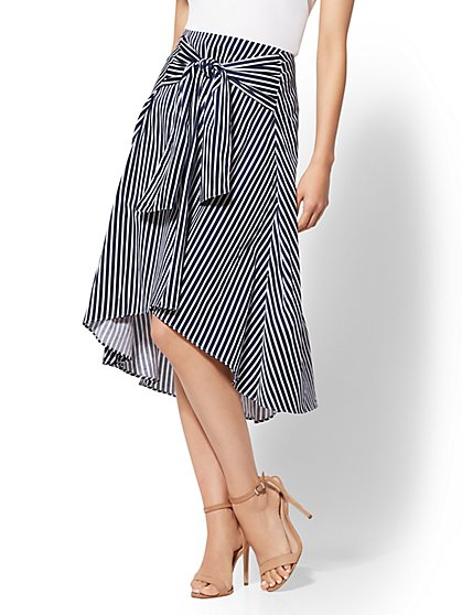 7th Avenue - Striped Tie-Front Hi-Lo Skirt - New York & Company