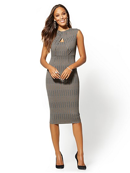 7th Avenue - Tall Brown Plaid Keyhole Sheath Dress - New York & Company