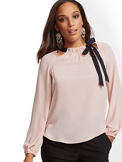 7th Avenue - Tall Cutout-Detail Bow Blouse - New York & Company