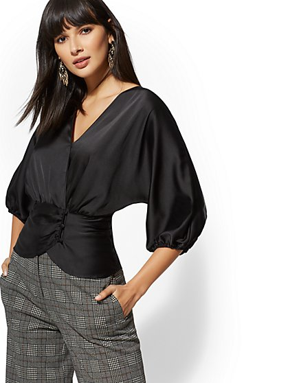 7th Avenue - Tall Dolman Wrap Blouse - New York & Company