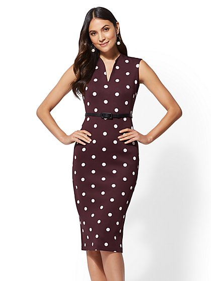 7th Avenue - Tall Dot-Print Sheath Dress - New York & Company