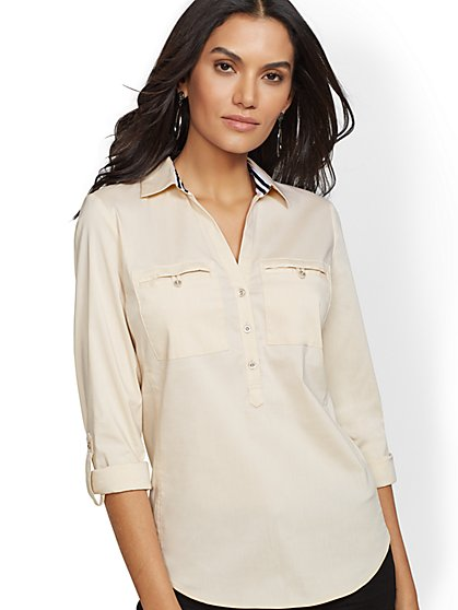 7th Avenue - Tall Grosgrain-Trim Popover Madison Stretch Shirt - New York & Company