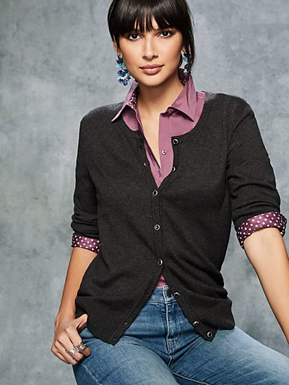 7th Avenue - Tall Jeweled Crewneck Chelsea Cardigan - New York & Company