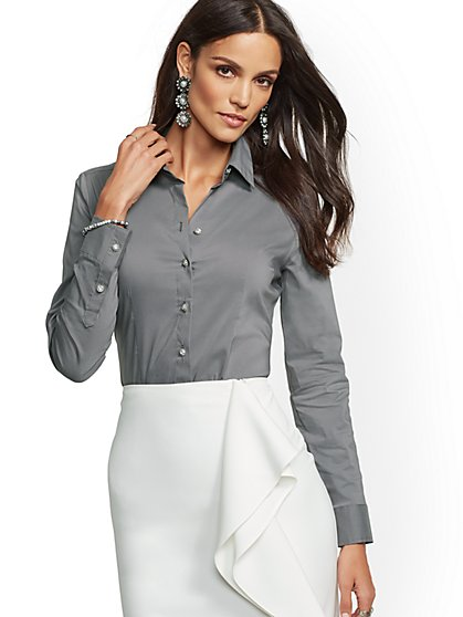 7th Avenue - Tall Jeweled Madison Stretch Shirt - New York & Company