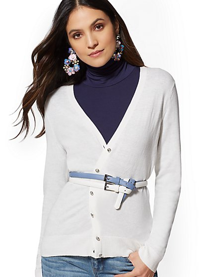 7th Avenue - Tall Jeweled V-Neck Chelsea Cardigan - New York & Company