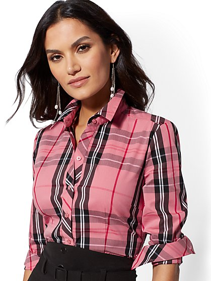 7th Avenue - Tall Plaid Madison Stretch Shirt - New York & Company