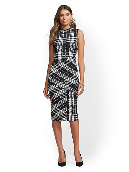 7th Avenue - Tall Plaid Mock-Neck Sheath Sweater Dress - New York & Company