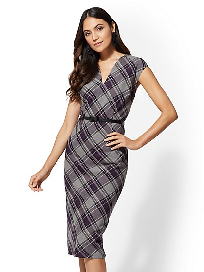 7th Avenue - Tall Plaid Sheath Dress - New York & Company