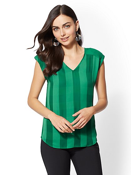 7th Avenue - Tall Plaid V-Neck Blouse - New York & Company