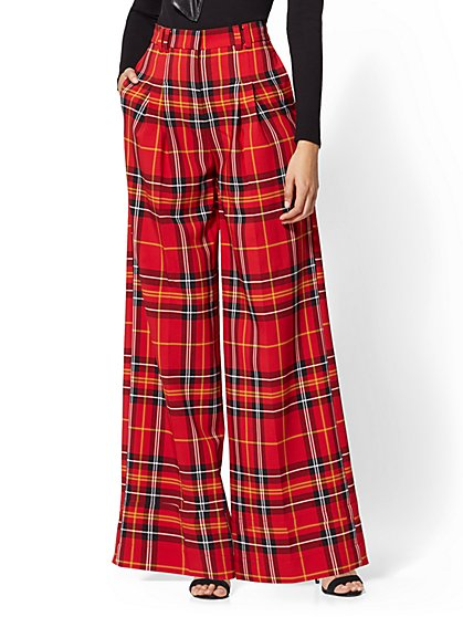 7th Avenue - Tall Red Plaid Palazzo Pant - New York & Company