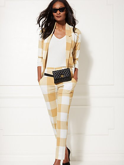7th Avenue - Tall Tan Plaid The Madie Pant - New York & Company