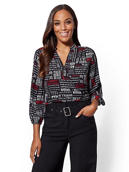 7th Avenue - Tall Text Print Wrap Blouse - New York & Company
