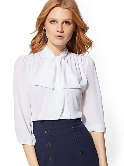 7th Avenue - Tall V-Neck Bow Blouse - New York & Company