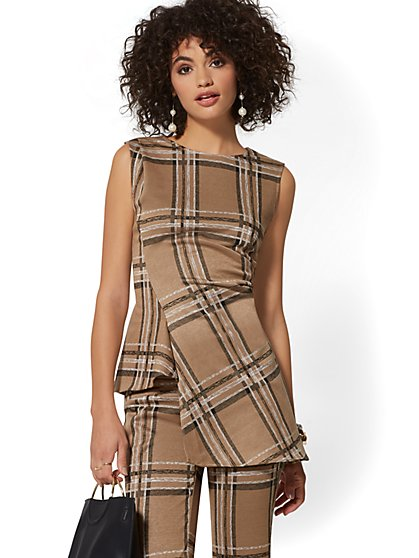 7th Avenue - Tan Plaid Asymmetrical Top - New York & Company