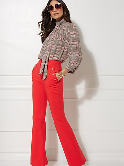 7th Avenue - Tan Plaid Bow Blouse - New York & Company