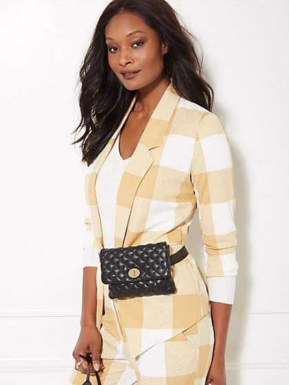7th Avenue - Tan Plaid Madie Soft Blazer - New York & Company