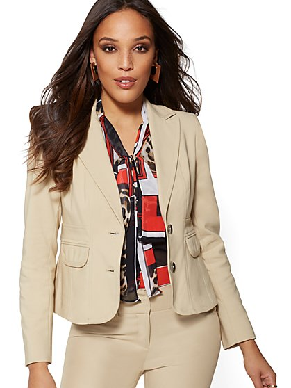 7th Avenue - Tan Two-Button Blazer -All-Season Stretch - New York & Company