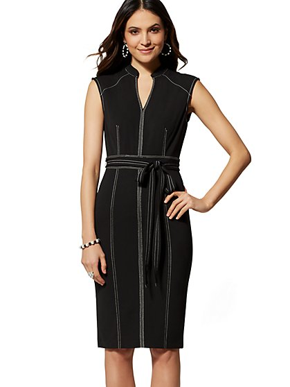 7th Avenue - Topstitched Sheath Dress - New York & Company