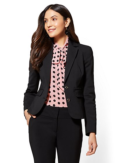 7th Avenue - Topstitched Two-Button Jacket - All-Season Stretch - New York & Company