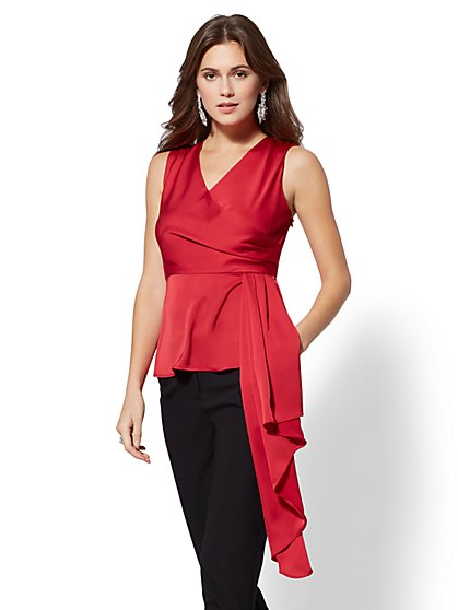 7th Avenue - V-Neck Draped Wrap Blouse - New York & Company
