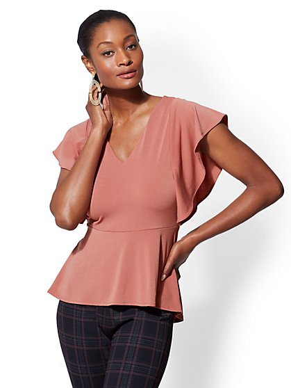 7th Avenue - V-Neck Ruffled Peplum Top - New York & Company