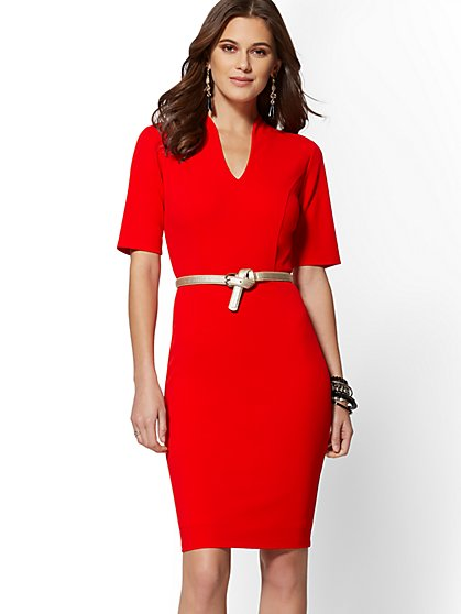 7th Avenue - V-Neck Scuba Crepe Sheath Dress - Magic Crepe - New York & Company