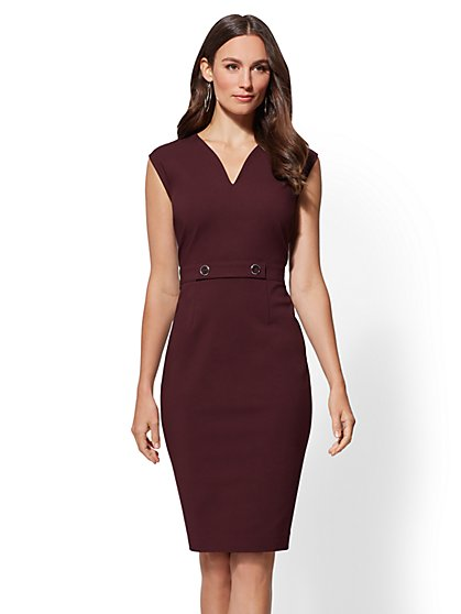 7th Avenue - V-Neck Sheath Dress - All-Season Stretch - New York & Company