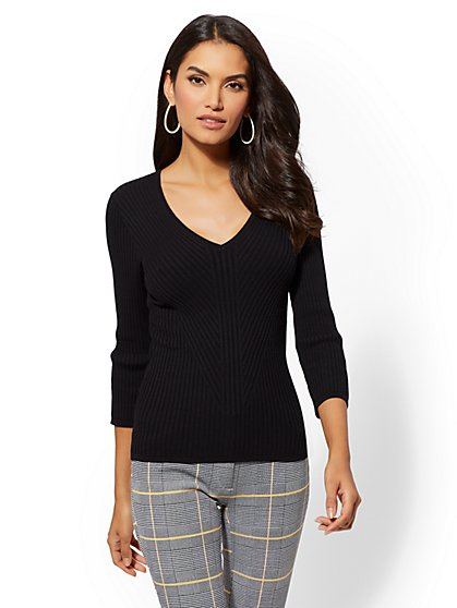 7th Avenue - V-Neck Sweater - New York & Company