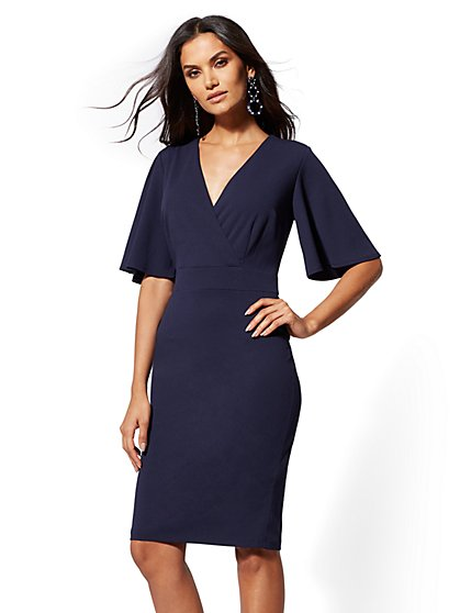 7th Avenue - V-Neck Wrap Sheath Dress - Magic Crepe - New York & Company