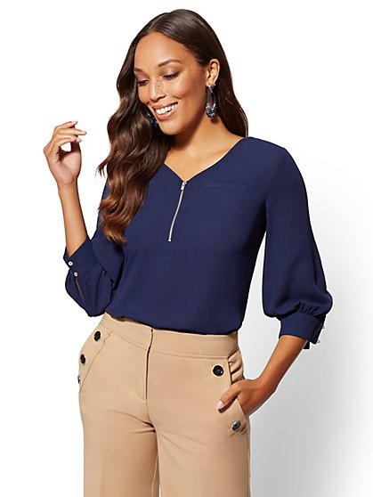 7th Avenue - V-Neck Zip-Front Top - New York & Company