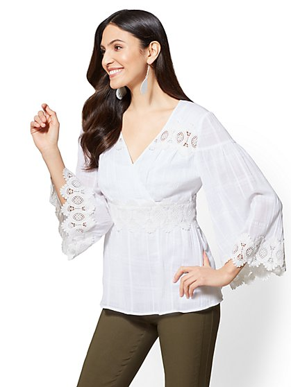 7th Avenue - White Applique Bell-Sleeve Blouse - New York & Company
