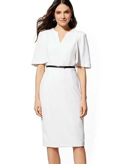 7th Avenue - White Cape Sheath Dress - New York & Company