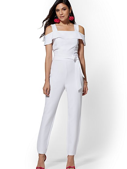 82060575b84 7th Avenue - White Cold-Shoulder Jumpsuit - New York   Company ...
