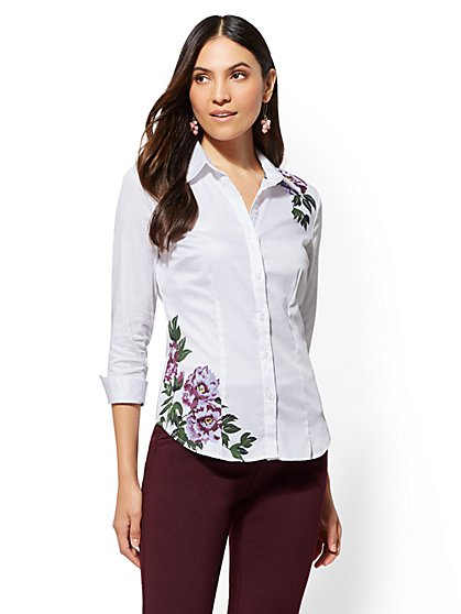 7th Avenue - White Floral Madison Stretch Shirt - New York & Company