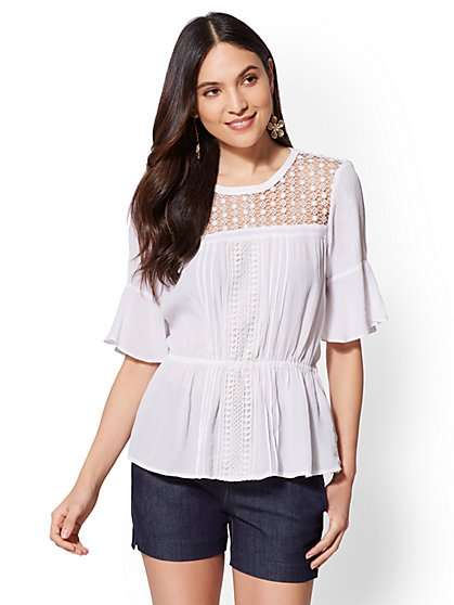 7th Avenue - White Lace-Accent Blouse - New York & Company