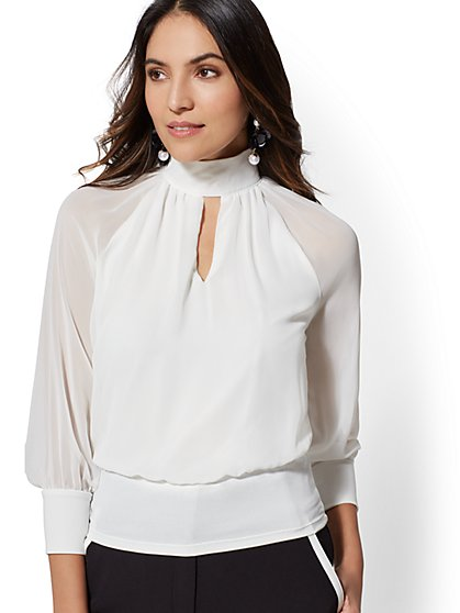 7th Avenue - White Mock-Neck Keyhole Blouse - New York & Company