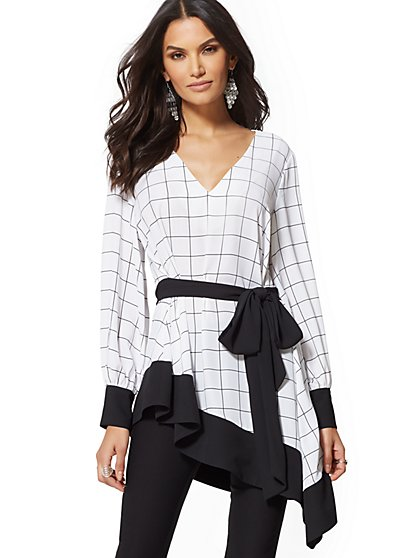 7th Avenue - White Plaid Asymmetrical-Hem Blouse - New York & Company