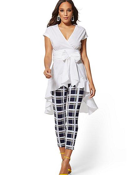 92aa209178e5e 7th Avenue - White Poplin Tie-Waist Hi-Lo Shirt - New York ...