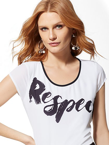"7th Avenue - White ""Respect"" Graphic Tee - New York & Company"