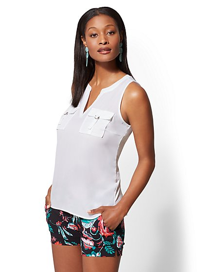 7th Avenue - White Sleeveless Top - New York & Company